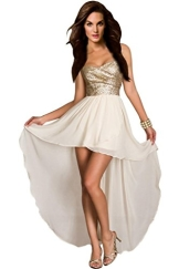 aimerfeel Frauen beige Bustier-Kleid mit Pailletten Top und Größe S 38-40 zurückfließt - 1