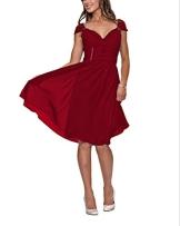 Astrapahl, Festliches Kleid, knielang Abendkleid, Cocktailkleid, breite Träger, Farbe rot, Gr.34 - 1