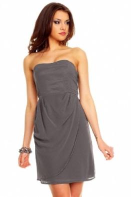 Bandeau Kleid Chiffon Ballkleid Abendkleid Cocktailkleid Festkleid Chiffonkleid L (38) Grau - 1