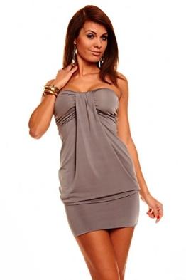 Bandeau Minikleid Partykleid Longtop Long Top Shirt Sommerkleid Grau - 1