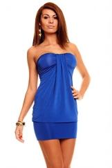 Bandeau Minikleid Partykleid Longtop Long Top Shirt Sommerkleid Royal Blau - 1