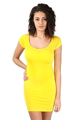 Be Jealous - Womens Sexy Damen Flügelärmel Dehnbar Körperbetont Mini Länge Shorts Einfarbiges Top Party - Gelb, 48-50 - 1