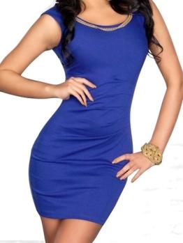 Blansdi Damen Sexy Rundhalsausschnitt Kleid Minikleid Party Abendkleid Cocktailkleid Dress Skirt blau - 1