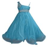 Cinda Mädchen Partykleid Herz Blaue Schärpe 122-128 - 1