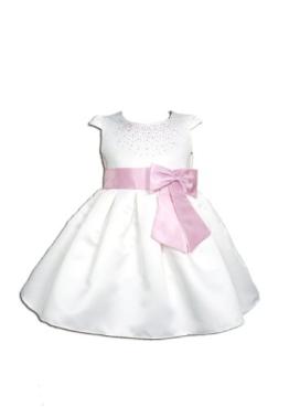 Cinda Mädchen Partykleid mit Stirnband Weiß und Rosa 68-74 - 1