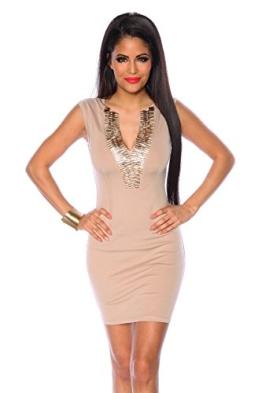 Cocktailkleid / Abendkleid / Kleid / Partykleid mit sehr schönen Ausschnitt in beige (Größe L (40)) - 1