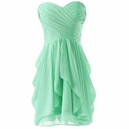 ?Damen Abend formale Kleid-Abschlussball-Ball kurzes Hochzeits-Brautjungfer Kleid gruen M - 1