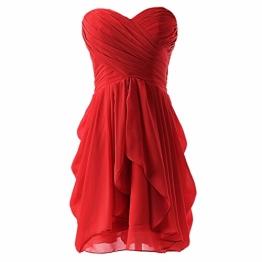 Damen Abend formale Kleid-Partei-Abschlussball-Kugel-kurzes Hochzeits-Brautjungfer Kleid rot S - 1