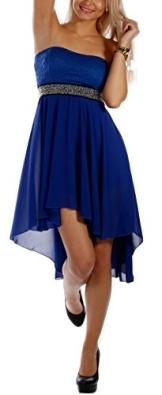 Damen Cocktailkleid Bandeau mit Spitze, Sommerpartykleid, VokuHila Chiffon Strandpartykleid, Einheitsgröße 34-38 viele Farben (Royal Blau) - 1
