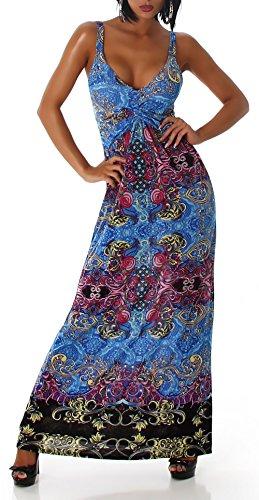 Damen Kleid Maxikleid Trägerkleid lang Träger Bunt Muster Farben 34 36 38 Blue - 1