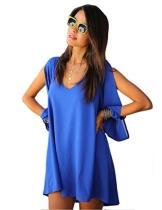 Damen Sommer Kurzschluss Minikleid Königsblau L - 1