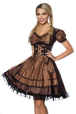 DIRNDLINE 3-tlg. Mini-Dirndl Trachtenkleid aus Jacquard (Kleid, Schürze & Bluse) in 5 Varianten A70000, Größe:40;Farbe:braun - 1