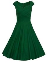 Dresstells 50er Retro Audrey Hepburn Schwingen Pinup Polka Dots Rockabilly Kleid Green L - 1