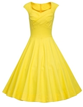 Dresstells 50er Retro Audrey Hepburn Schwingen Pinup Polka Dots Rockabilly Kleid Yellow 3XL - 1