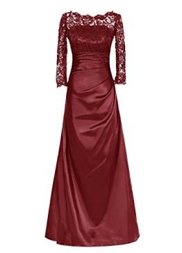 Dresstells Abendkleider Mit Spitze Satin Langer Ärmel Brautjungfernkleider Burgundy Größe 46 - 1