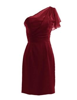 Dresstells Brautjungfernkleider Knielang Asymmetrisch Ein-Träger Chiffon Ballkleider DT90060 Burgundy Größe 44 - 1