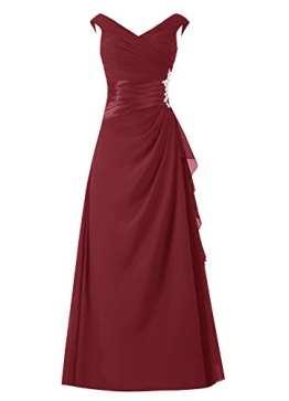 Dresstells Damen Abendkleider Bodenlang Homecoming Kleider Promi-Kleider Burgundy Größe 44 - 1
