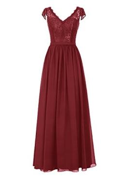 Dresstells Damen Abendkleider Bodenlang Homecoming Kleider Promi-Kleider DTZ039 Burgundy Größe 38 - 1