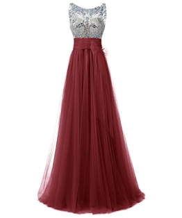 Dresstells Damen Abendkleider Tüll Bodenlang Cocktail-Kleider Burgundy Größe 36 - 1