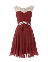 Dresstells Damen Cocktailkleid Mini Durchsichtig Ausschnitt Mit Strasssteinen DT90247 Burgundy Größe 32 - 1