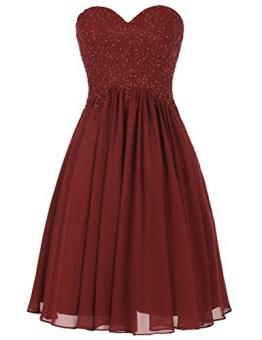Dresstells Damen Jugendlich Brautjungfernkleider Herzform Abiballkleider Burgundy Größe 34 - 1