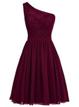 Dresstells Damen Kurz Brautjungfernkleider One Shoulder Abiballkleider Burgundy Größe 34 - 1