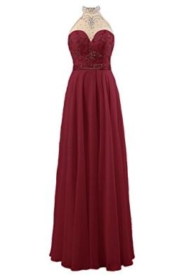 Dresstells Damen Neckholder Abendkleider Rückenfrei Party Kleider Burgundy Größe 36 - 1