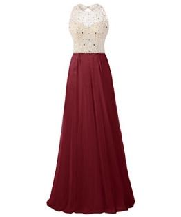 Dresstells Damen Rückenfrei Abendkleider Friesen Cocktail-Kleider Burgundy Größe 32 - 1