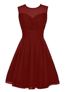 Dresstells Jugendlich Damen Abendkleider Chiffon Homecoming Kleider Brautjungfer Kleider Burgundy Größe 34 - 1