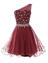 Dresstells Kurz Damen Homecoming Kleider One Shoulder Party Kleider Abiballkleider DT90826 Burgundy Größe 38 - 1