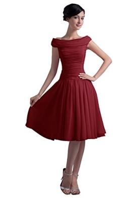 Dresstells Kurze Ballkleider Chiffon Cocktailkleider offizielle Abendkleider für Jugend Burgundy Größe 40 - 1