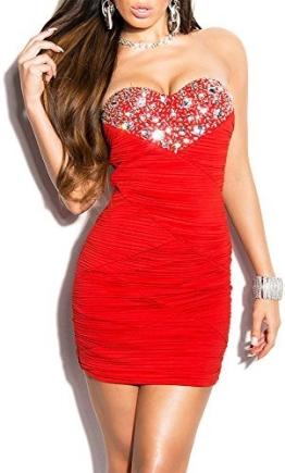 Elegantes KouCla Abendkleid gerafft und mit Steinbesatz in 7 Farben (One Size 34-38) Sexy Dekolletè Minikleid Partykleid (Rot) - 1