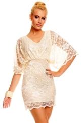 Elegantes Minikleid mit Spitze Abendkleid Cocktailkleid Festkleid Ballkleid -2 Beige M/L - 1