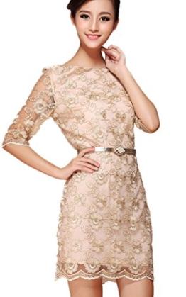 EOZY Damen Dress Etui Kleid Cocktail Party Hochzeit Spitze Party Beige Büste 90cm - 1