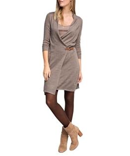ESPRIT Collection Damen Kleid weiche Woll - Mix Qualität, Knielang, Gr. 36 (Herstellergröße: S), Braun (TAUPE 2 241) - 1