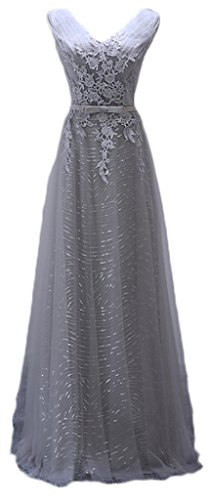 Eudolah Damen Abendkleider Braujungfernkleider Tolles V-Ausschnitt Bunt Maxikleid lang Satin Chiffon Grau Gr.50 - 1