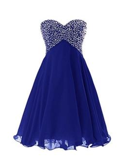 Eudolah Damen Prom Kleid Party Ballkleid Herz-Ausschnitt A-Linie Kurz Mini Bunte Pailletten Saphirblau Gr.38 - 1