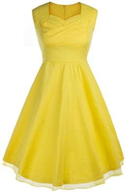 Eudolah Damen Schwingen Tanzen 50er Party Kleid Cocktailkleid Rockabilly Audrey Hepburn Polka Dots Blumen Blau Gr.M - 1