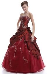 Faironly Frauen trägerlosen Abendkleid M37 (XS, Burgund) - 1