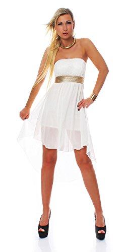 Fashion4Young Damen Vokuhila Cocktailkleid Sommer Mini kleid Party verfügbar in 4 Farben Gr. 34/36 (34/36, Weiß) - 1