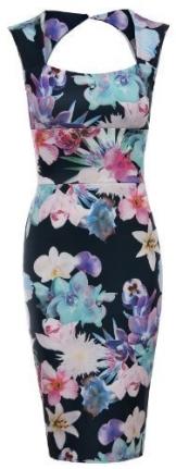 Fast Fashion Damen Kleid Ärmellose Blumendruck Schlüsselloch Schatz,Figurbetontes (EUR 42, Schwarz Bunt) - 1