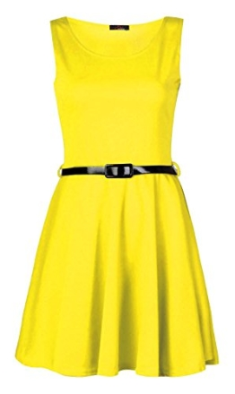 Fast Fashion Damen Kleid Plain Sleeveless Belted Ausgestelltem Skater - 1