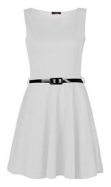 Fast Fashion Damen Kleid Plain Sleeveless Belted Ausgestelltem Skater - 1