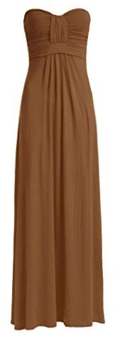 Fast Fashion Damen Maxi Kleid Plain Plus Size Knot Bug Trägerlosen Front - 1