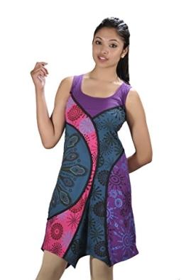 Frauen stretch Baumwolle ärmelloses Kleid mit Stickerei - ROSE M - 1