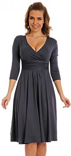 Glamour Empire Damen Kleid Tiefer V-Ausschnitt Sommerkleid Cocktailkleid 282 (Blau Grau, 50) - 1