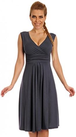 Glamour Empire Damen Skater Freizeitkleid Sommer Kleid Partykleid Gr. 36-46 256 (Blau Grau, 42) - 1