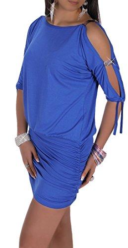 Glamour Empire Damen Tunik Top mit Armschlitz Mini-Kleid Schwarz Partykleid 157 (Blau, 42/44) - 1