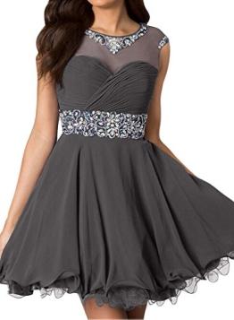 Gorgeous Bride Zaertlich Mini Chiffon Tuell A-Linie Abendkleider Cocktailkleid Partykleid-36 Grau - 1