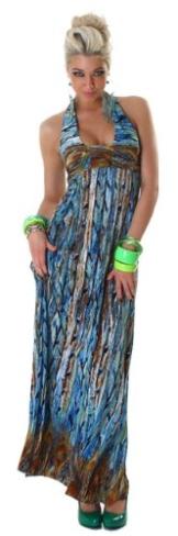 Graffith Damen Neckholder-Maxikleid extra lang mit buntem Muster Einheitsgröße (34-38), blau - 1